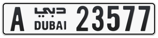 Dubai Plate number A 23577 for sale on Numbers.ae