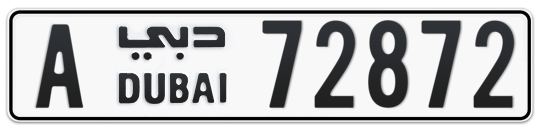 Dubai Plate number A 72872 for sale on Numbers.ae