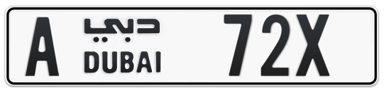 A 72X - Plate numbers for sale in Dubai