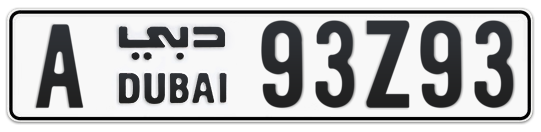Dubai Plate number A 93Z93 for sale on Numbers.ae