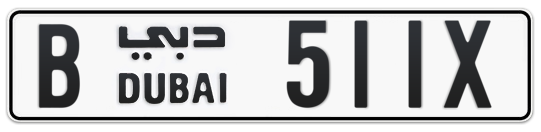 B 511X - Plate numbers for sale in Dubai