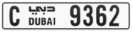 C 9362 - Plate numbers for sale in Dubai