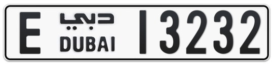 E 13232 - Plate numbers for sale in Dubai