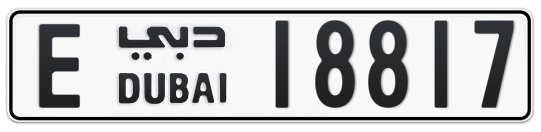E 18817 - Plate numbers for sale in Dubai