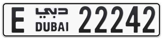 E 22242 - Plate numbers for sale in Dubai