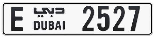 Dubai Plate number E 2527 for sale on Numbers.ae