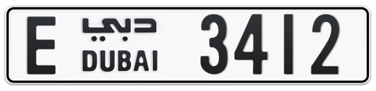 E 3412 - Plate numbers for sale in Dubai