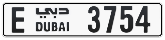 E 3754 - Plate numbers for sale in Dubai