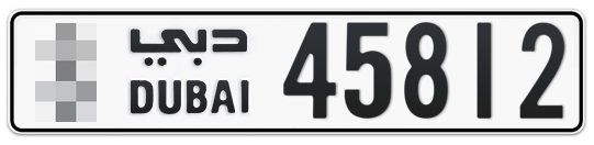 Dubai Plate number  * 45812 for sale on Numbers.ae
