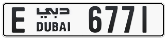 E 6771 - Plate numbers for sale in Dubai