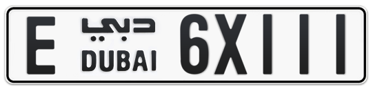 E 6X111 - Plate numbers for sale in Dubai