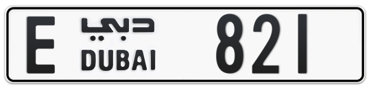 E 821 - Plate numbers for sale in Dubai