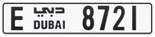 E 8721 - Plate numbers for sale in Dubai
