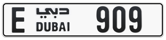 E 909 - Plate numbers for sale in Dubai