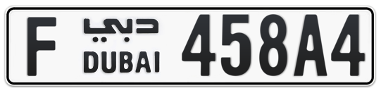 Dubai Plate number F 458A4 for sale on Numbers.ae
