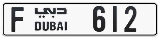 F 612 - Plate numbers for sale in Dubai