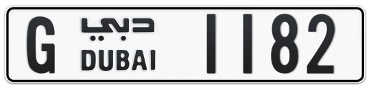 G 1182 - Plate numbers for sale in Dubai