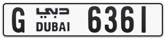 G 6361 - Plate numbers for sale in Dubai
