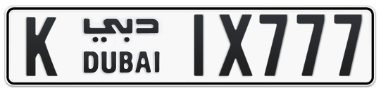 K 1X777 - Plate numbers for sale in Dubai
