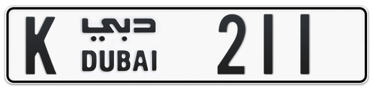 K 211 - Plate numbers for sale in Dubai