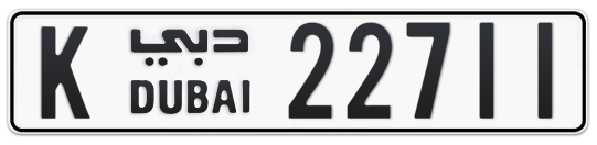 K 22711 - Plate numbers for sale in Dubai