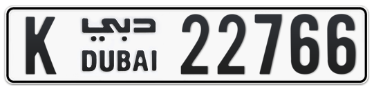 K 22766 - Plate numbers for sale in Dubai