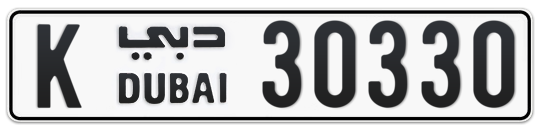 K 30330 - Plate numbers for sale in Dubai