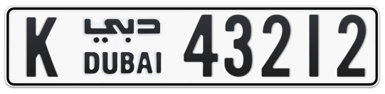 K 43212 - Plate numbers for sale in Dubai