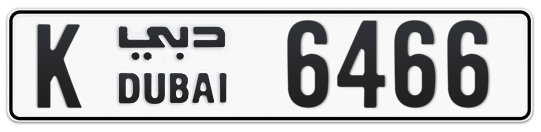 K 6466 - Plate numbers for sale in Dubai
