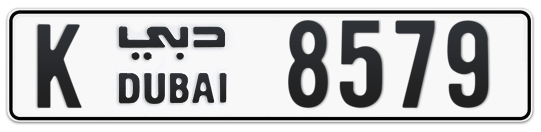 K 8579 - Plate numbers for sale in Dubai