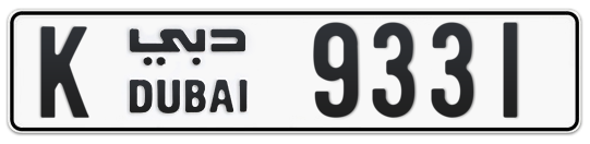 K 9331 - Plate numbers for sale in Dubai