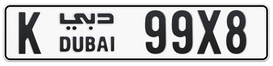 K 99X8 - Plate numbers for sale in Dubai