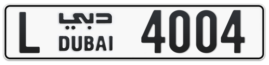 Dubai Plate number L 4004 for sale on Numbers.ae