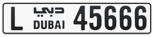 L 45666 - Plate numbers for sale in Dubai