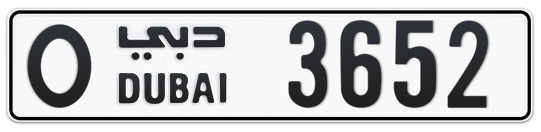 O 3652 - Plate numbers for sale in Dubai