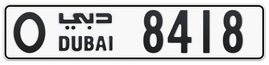 O 8418 - Plate numbers for sale in Dubai