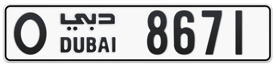 O 8671 - Plate numbers for sale in Dubai