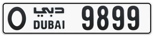 O 9899 - Plate numbers for sale in Dubai