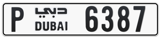 P 6387 - Plate numbers for sale in Dubai