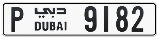 P 9182 - Plate numbers for sale in Dubai