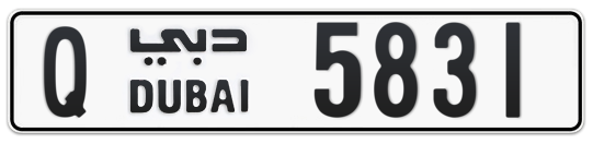 Q 5831 - Plate numbers for sale in Dubai