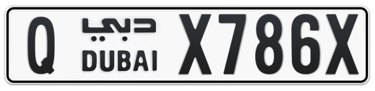Q X786X - Plate numbers for sale in Dubai