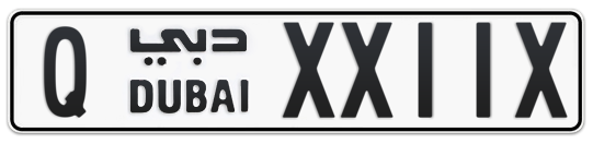 Q XX11X - Plate numbers for sale in Dubai