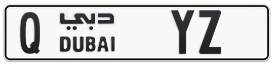 Q YZ - Plate numbers for sale in Dubai