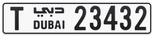 Dubai Plate number T 23432 for sale on Numbers.ae