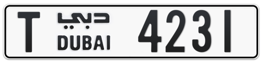 T 4231 - Plate numbers for sale in Dubai