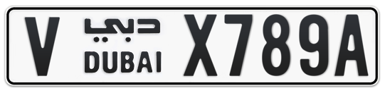 V X789A - Plate numbers for sale in Dubai