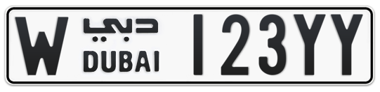 W 123YY - Plate numbers for sale in Dubai