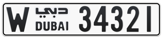W 34321 - Plate numbers for sale in Dubai