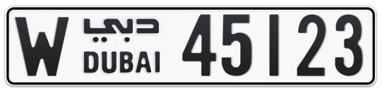 W 45123 - Plate numbers for sale in Dubai